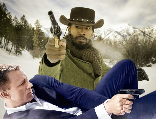 My 2013 Movies: Skyfall/Django Unchained Double Feature! (2012, at the theatre) It may come as a surprise to some of you that I do actually watch movies once in a while, rather than just mocking their actors with crudely-rendered animations and dopey Photoshoppery. And in 2013, I resolve to write more about the movies I'm watching in the theatre and at home, if only so that I can look back in December (as I almost never am able to do) and contemplate better what the year held for me in terms of movie-watching. Having received a bucket of movie gift card money for Christmas, I indulged myself this week with a rare double feature: Skyfall and Django Unchained, which actually make for a decent pairing, seeing how both riff on themes of personalized vengeance/mission-based shootout movies, and both have their roots in long-running cinematic genres. I loved watching both. I was blown away by neither. In the interests of non-dashboard cloggery, I'll send you off to my site to read the rest if you'd like: [[MORE]] Here's the thing: I do love Bond movies and I do love Tarantino movies; but how appropriate is it, really, to compare a new Bond or a new Tarantino to those that have come before? Is it even possible to judge them solely on their own merits as stand-alone movies, or can we only contemplate them in the context of their cinematic siblings? For me, I know the answer. It's really difficult to separate the now from the history, just as it's hard to separate our own histories from movie viewing. When we sit down in the theatre and the lights go down, we've already brought a lot of other stuff with us. What's past is prelude. Of the two of these, I ultimately enjoyed Skyfall more. Quantum of Solace was such a letdown, so dreary and horribly shot and edited; coming as it did after the revitalized joy of Casino Royale, there was reason for despair. So Skyfall's ability and willingness and robust joy to bring the franchise back home again feels…right. Solid. Exciting in so many ways. And to have it shot by Roger Deakins is a sublime, giddy thrill; it's a gorgeous, spectacularly visual film that I will absolutely own when it's released on Blu-ray (another exciting Christmas gift I got!). But as joyful as I felt watching Skyfall, there was a lot of the plot that didn't engage me as much. Silva's mission - while delightfully carried out by Bardem - ended up feeling too small, too personal for a Bond movie, and I felt myself poking too many holes in its logic and execution. And while I was entertained by the loads of self-referential humor and context to Bond lore, those elements of the movie also felt like they were pulling me out of the story. Yes, the Bond movies are meaningful; yes, they need to age with the times; yes, we get your cheeky references; please get on with telling me a great story. Still: there's a lot to love in Skyfall. Django? Django. Tarantino. Django. Again, I loved watching this; it's loads of fun. There is no one like Tarantino; no one who composes shots, builds sequences, creates intriguing characters and indulges himself so completely in his work. It's inspiring and wonderful to see. It's filmmaking so unconventionally Hollywood that I truly admire that it gets made and that I can have fun experiencing it. But honestly? Django Unchained has already left my consciousness. It was fun but I don't think it'll stay with me the way the Kill Bills have. Pulp Fiction. These are lasting, indelible works to me that speak of drama and tension and character. People change in these movies; you can see growth and impact. The wounds hurt and the deaths matter. You can mine these stories for deep human truths, lovingly rendered. That just didn't happen to me with Django, and it didn't happen with Inglorious Basterds. And I despised Death Proof. I'm miserable that he's so still so stuck, so committed to this idiotic grindhouse fast-zoomy crap. I'm really bored with it. Before it started, I decided I'd try to count the crash zooms, but then there were two in the first five minutes and I realized it would only make me mad to do so. And oh Lordy I wish he'd stop acting. But that's pretty much always been the case. I do tend to love his movies. Strike that: I love watching his movies. But after Kill Bill, they don't get to me anymore. They're standing at a distance, being awesome for awesome's sake, not for mine. I have no interest in owning them, revisiting them over time, and I know that Django - with all of its many, many charms - simply will not stay with me.