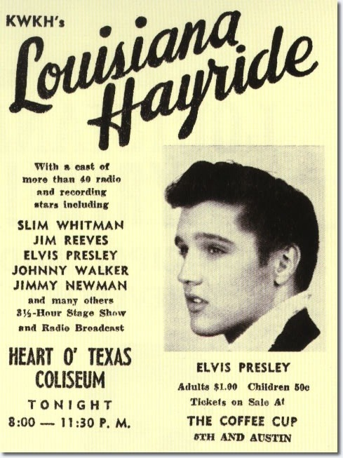 theniftyfifties:  Elvis Presley Louisiana Hayride concert poster, April 23, 1955.