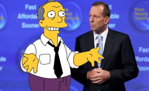 tonyderbott:  Gil from the Simpsons trying to sell the National Fraudband Network