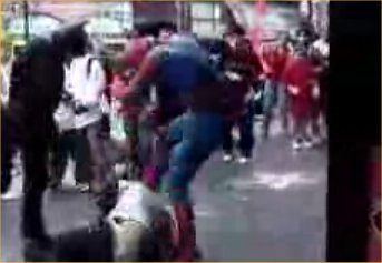 Batman and Spiderman in Street Fight