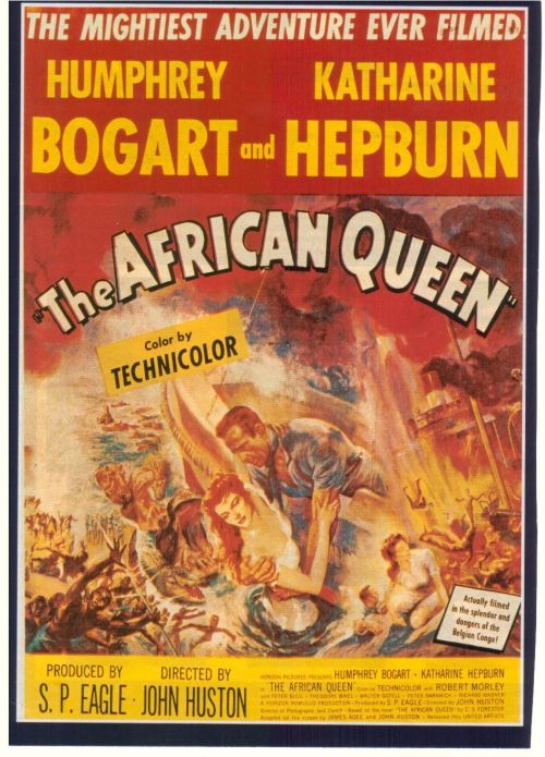 The African Queen (1951) This is a kinda fun adventure/romance movie, but not a whole lot more. The plot of a man and a woman who initially dislike each other, but after going through perilous events, fall in love is a pretty familiar one. But I suppose it wasn't as cliche 60 years ago. The actual story is a little repetitive and unrealistic too. The film is really saved by Humphrey Bogart and Katharine Hepburn - they're both very likable and wonderful together.