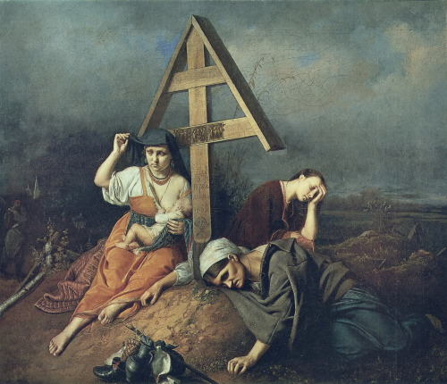 histoire-de-lart:  vasily perov, scene on a grave, 1859, oil on canvas
