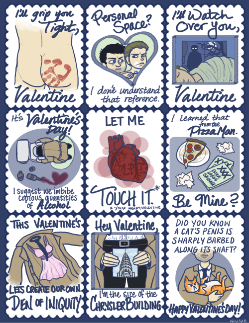 kelisab:  Some Castiel themed Valentines, because unintentionally creepy Cas is my favorite Cas. Happy Valentine's Day! Full size (x)