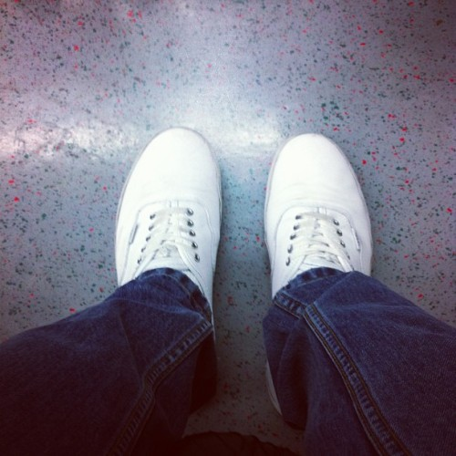 Passing time on the tube. #vans #bornleeda