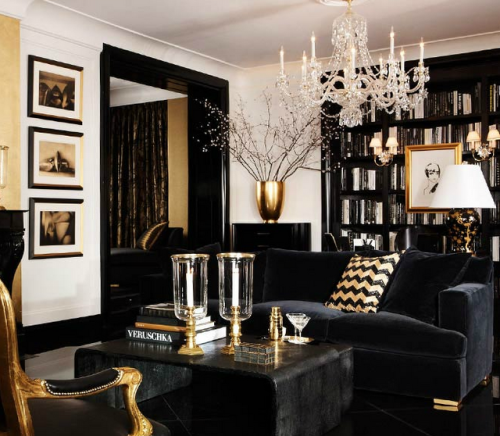 black-celluloid:  black and gold Art Deco glam, my idea of a perfect lounge…sooo lovely via A Touch of Luxe blog