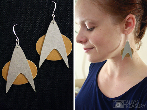 halloweencrafts:  DIY Cheap and Easy Star Trek Cardstock Earrings Tutorial from Tally's Treasury here.
