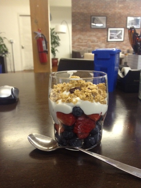 Work-made berry, yogurt & granola parfait!  Yum for breakfast.