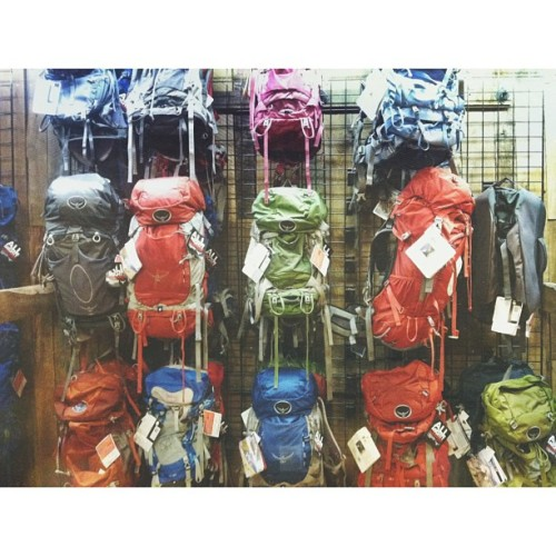 wildernessbound:  Packs on packs on packs. #Osprey #Backpacks  I see my 48L kestrel right in the middle! Now all I need is the 80L behemoth to carry my entire highline rig!