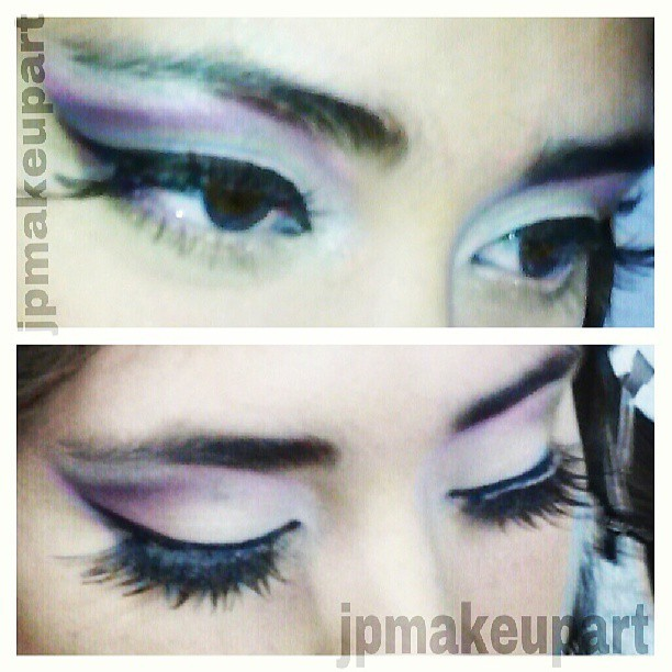 "I used ""vibrant grape"" eyeshadow by mac mixed w ""rockstar"" by urban decay on the outer v of the eye. Blended those colors into the crease w a little pink blush. I used ""brule"" by mac on the eye lid and for the brow highlight and on the tearduct and inner eye I used a mineralized eye shadowed called ""cloudy afternoon"", also by mac. Tossed on some cris cross lashes and some black eyeliner and white eyeliner on the bottom waterline. #jpmakeupart #eyeshadow #eyeliner #makeup #mua #lashes #beauty #beautiful #mac #urbandecay #glam #purple #cateye #instacool #likes #followme #makeupartist"