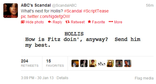 "scandalmoments:  New #ScriptTease for episode 2x12 is HERE - featuring Hollis Doyle!   Hollis - How is Fitz doin', anyway? Send him my best?  I'm guessing Hollis said this to Mellie because he enjoys doing shade while smiling.  It's not ""doing shade""…. It's throwing shade…."