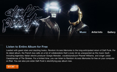 laughingsquid:  New Daft Punk Album 'Random Access Memories' Streaming Now for Free on iTunes