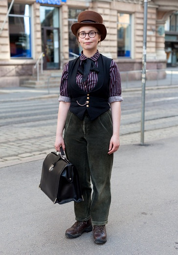"hel-looks:  Inkeri, 18 ""I like clothes that are 130-150 years old. Old-fashioned clothes are made from sturdy materials and they fit better my body type than contemporary clothes, high-waisted trousers for example. I like hats, ties, bow ties and men's clothes. Steampunk inspires me."" 14 May 2013, Yrjönkatu"