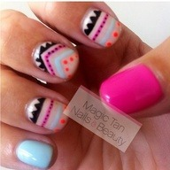 Aztec nail art on ne Details at http://bit.ly/12n5nZt