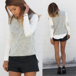Perfect top for bipolar LA weather ⛅  Knit sweater with elbow patch detail on thin sleeves. Perfectly paired with Quilted Leather Shorts.  Get em both for 20% off- enter PROMO CODE FUN20. 😝✌