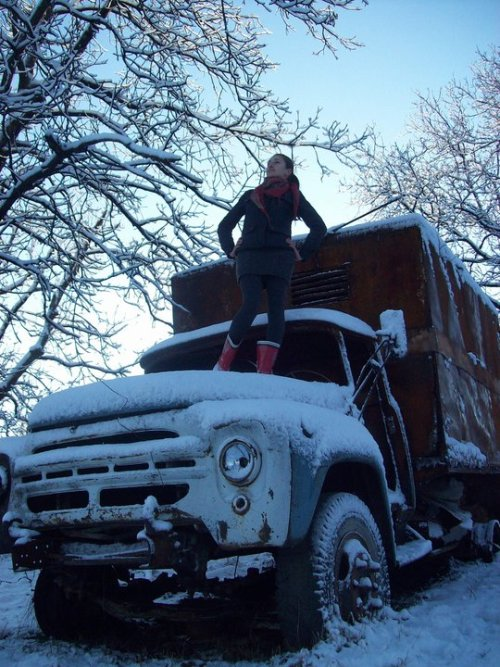 picture from 2 years ago… when i saw this truck… and then snow, in the woods… i, of course, thought of this song&video