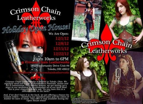 crimsonchainleather:  So here's the shiny flier Andi made for our open house! Please be sure to make it out if you can! Flier design; bottom left and top right photos (photographer): shesawred Top left photo (model): YayaCosplay Bottom right photo (model): spookyelric  Hey look, its my face on a flier thing.