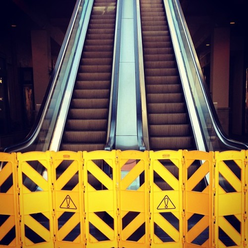No Go #escalator #broken #everyday #ridiculous #caution #yellow #upanddown