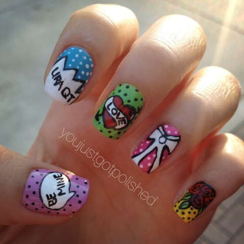 Pop Art/Valentines Day inspired nail art. ^_^ forgot to post it.   Instagram: marylenex3