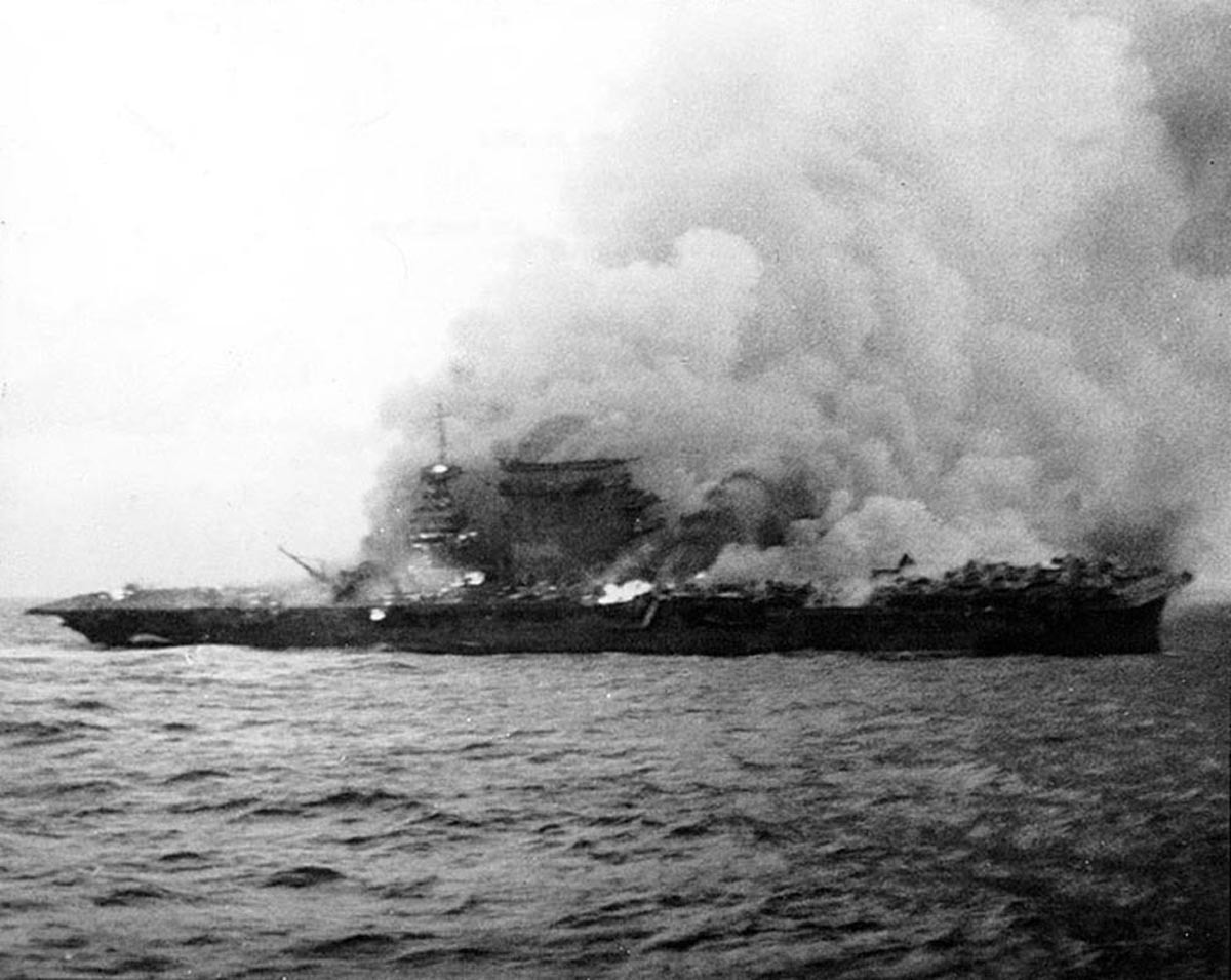 On 8 May 1942, at the culmination of the Battle of the Coral Sea, the aircraft carrier USS Lexington (CV 2) was lost. Heavily damaged and ablaze after attacks by Japanese carrier planes, the carrier was abandoned and scuttled, becoming the first U.S. aircraft carrier lost in the war. NHHC image NH 51382.