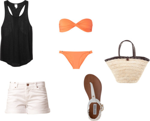 Outfit for a warm summer midnight bonfire by kyliejennerfashion featuring white sandals  Monki racerback tank top, $20 / Melissa Odabash bikini swimwear / Twist & Tango cotton shorts, $29 / Steve Madden white sandals / Bucket bag, $73