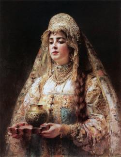 goodolarthistory:  Artist: Konstantin Makovsky Title: Cup of Honey Date: 1890