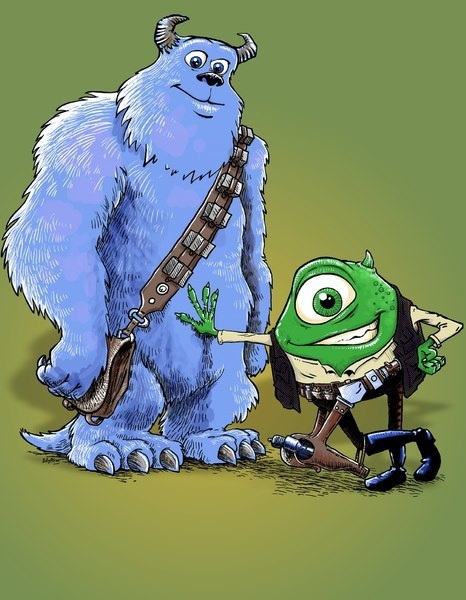 "Star Wars + Monsters, Inc. = this adorable ""Hike and Chulley"" mashup by artist Billy Allison."