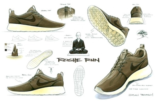 "stacygirlfren:  Exclusive: The Story Behind The Nike Roshe Run How To Make It: When did the design process start for the Nike Roshe Run?Dylan Raasch: The design process for the Roshe started back in the fall of 2010. I was asked to bring ideas to a Nike Sportswear Fall 11 seasonal brainstorm session, which focused on ways of bringing value to a lower price point. I was the only designer in a group of merchandisers, marketing and sales people, and when I presented the concept behind the Roshe the room was crickets. Apparently the idea was too abstract at that point, but I knew there was something there, so I decided to develop the design in my free time. How To Make It: What was your original design goal: simply a new silhouette, something to hit a $70 price point or strictly performance based?Dylan: When the idea sprouted for the seasonal brainstorm session, it was definitely an exercise of what value can we bring at a $70 price point, but it soon became a challenge of how I could also make it stylish at the same time. Since I was designing for NSW running and not performance running, I didn't have to meet the performance requirements for a running shoe, which gave me the freedom to make something that had never been done before. And being that the shoe was designed off brief, I had zero limitations which created a perfect opportunity for something fresh. How To Make It: What's the inspiration and concept behind the shoe?Dylan: Since I was young I have practiced meditation, so the concept of Zen and simplicity plays a big part in my life. The inspiration and name comes directly from the word ""Roshi,"" which is a title given to a Zen master. And to me, nothing really epitomizes simplicity better than a Zen master. For legal reasons, we had to change the ""i"" to an ""e,"" but it is still pronounced the same so it worked for me. From there, I designed the shoe to be as simple as possible by keeping only what was absolutely necessary. For a running silhouette, it turns out you don't need much: quarter support, heel support and some cushioning. Once the unnecessary elements were removed, it was an exercise of sculpting and refinement. I pictured the Zen master meditating in his Zen garden and used the shapes and color for inspiration. The bottom of the outsole uses the Nike natural motion waffle pattern, but I wanted them to look like stepping stones in the garden. The insole was designed to mimic a freshly raked Zen rock garden. The original iguana colorway played off the natural dark green moss and leaves and the off-white rocks of a Zen garden. Even the midsole profile of the medial and lateral side is slightly different to create a juxtaposition of seriousness and playfulness. Apart from the details, I wanted the shoe to be as versatile as possible, so I designed it so it could be worn barefoot or with socks. You could dress up or down in it, travel with it, walk or run in it, chill in it, almost anything. I felt the simpler I could make it, the more profound it would become.   How To Make It: How many versions did you see before the final model hit shelves?Dylan: When you start from a blank slate and there is nothing to reference, it is a long road of small tweaks. There ended up being over 16 outsole revisions and over 50 upper changes. The smallest change seemed to make a huge difference, so changes came down to millimeters. You might never guess considering how close the first prototype sample looks to the final production version. How To Make It: Did you face any big challenges?Dylan: It seems at every corner there was a challenge with this shoe, but there where two big hurdles that come to mind. The first was getting the shoe into the line; the next was sticking to my guns with the original design intention. There was a lot of outside pressure, especially considering I was fairly new to Nike at the time, but the design director, Andreas Harlow, and the category director, Jeff Henderson, had my back and were adamant that I maintained my original vision and keep it as clean as possible. How To Make It: When you have the full range of Nike technologies at your disposal, how do you decide what to include?Dylan: On this design I only used technology if it made the shoe simpler. The outsole is a perfect example. All shoes have a cushioned midsole and rubber bottom for durability. I thought, what if you combine the two? I found a special EVA compound that is soft but supportive, and has the durability of a soft rubber. Thus, I eliminated the need for rubber molds, and with a one-piece injection there was no outsole construction necessary, making it a greener manufacturing method. How To Make It: What's the relationship like between the designer and the product line manager?Dylan: Typically, a designer and a PLM work hand in hand and balance business asks with new concepts. Since this shoe was designed off brief, it created a big problem for me – it would never see the light of day if a PLM didn't like it. Tung Ho, the NSW Running PLM at that time, and I had a good relationship, so I showed it to him and he knew right away we had something unique. He put it in line and played a big part in helping me refine the concept to make sure it maintained its identity. How To Make It: What other shoes have you designed?Dylan: I have only been at Nike for two and a half years, so my Nike portfolio is still pretty limited, but I designed the Nike Air Max Lunar, the Nike Field Trainer, the Nike Trainer Classic, the Nike Lunar Pantheon and theNike Lunar Safari update, as well as a handful of others. How To Make It: How did you land at Nike?Dylan: I was a shoe designer in the skate industry for over eight years, and I got to the point where I needed to move on to something new or I felt I would be cheating myself. I saw a footwear position pop up for NSW and thought it would be a great opportunity since I had so much lifestyle experience. The thought of leaving the Southern California sun was hard, but when they asked me to come on board I immediately felt like the doors of possibility had opened. For the first time in my career I could actually make anything I could think of. How To Make It: What was the moment when you knew that you'd made it?Dylan: When you travel the world and wherever you go, you see people rocking your designs, it's a pretty good sign you are doing something right. I consider myself very fortunate to be where I am today. How To Make It: What advice would you give an aspiring sneaker designer?Dylan: The two biggest pieces of advice I could give to an aspiring sneaker designer is get to know your market and start to learn and understand how to design with cost and manufacturing in mind. These things obviously come with experience, but the quicker someone can grasp these things, the quicker their designs will find a home on someone's feet. How To Make It: What's something you wish you had known before you started out?Dylan: I think this goes back to the last question. When I came out of design school I could sketch and render all day long, but didn't have that market and manufacturing experience to tie it together. I wish I took it more upon myself to learn those things beforehand, because it took me a good two years of being immersed in retail, factories, sales meetings and trade shows before it clicked. How To Make It: What is the first sneaker you can remember buying?Dylan: The first sneaker I can remember buying was the Airwalk Prototype 540. If you skated back in the day, that was the shoe you had to have. I think my brother and I actually slept in them the first day we got them. How To Make It: What does your personal collection look like?Dylan: To be honest, I keep things pretty simple these days so I don't have a huge sneaker collection. I prefer to stick to clean, timeless designs, but occasionally I buy shoes I don't even wear just because they have a cool design concept like the Nike Considered Mid and the Nike Zoom Haven. It's fun for me to look at old design concepts and think about how they could translate into current trends."