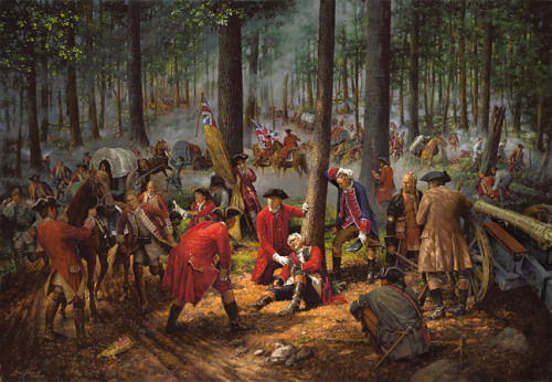 The Death of General Braddock, Battle of Monongahela, French and Indian War 1755.   The soldier in the blue uniform is a young George Washington.