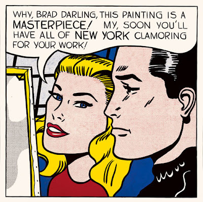 """Masterpiece,"" Roy Lichtenstein, 1962. Oil on canvas.     My work isn't about form. It's about seeing. I'm excited about seeing things and I'm interested in the way I think other people saw things.   I came across this Roy Lichtenstein quote, and then I liked this review of a show in Chicago:     What is lacking in the elegant retrospective at the AIC is any evidence of the source material Lichtenstein used, a choice which deprives viewers of a full understanding of his working process. A selection of drawings (mostly preparatory) help, but they are segregated in a side room painted in a deep purple (the rest of the walls are white) as if to broadcast their difference. The problem is that, lacking this give-and-take between the artist's working process and finished product, the exhibition becomes too stylish, inviting viewers to float along on pure surface.   Filed under: show your work"