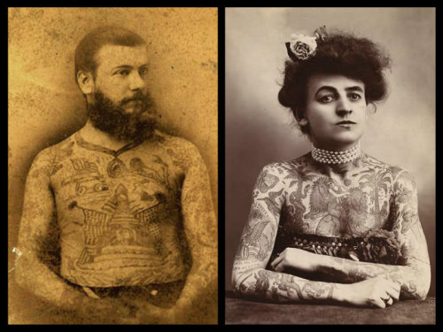 "Tattoos and the Civil War Tattoos and the name Martin Hildebrandt go hand in hand. Hildebrandt set up New York's first tattoo shop on Oak Street in lower Manhattan where he tattooed soldiers who fought on both sides of the Civil War. He tattooed military insignias and the names of sweethearts. His daughter Nora Hildebrandt at age 22, became the first tattooed woman to be exhibited in America.   In 1870, Hildebrandt established an ""atelier"" on Oak Street in New York City and this is considered to be the first American tattoo studio.  From ""Corporal Si Klegg and His Pard"" (page 303): How They Lived and Talked, and what They Did and Suffered, While Fighting for the Flag (Google eBook)  ""As a matter of fact the army did get pretty thoroughly tattooed during the war. Every regiment had its tattooers, with outfits of needles and India-ink, who for a consideration decorated the limbs and bodies of their comrades with flags, muskets, cannons, sabers, and an infinite variety of patriotic emblems and warlike and grotesque devices … Thousands of the soldiers had name, regiment, and residence tattooed into their arms or legs. In portions of the army this was recommended in general orders, to afford means of identification if killed in battle.""  (Book is written by a Civil War veteran, who served in the Ohio 65th Volunteer Infantry) Sources: http://www.vanishingtattoo.com/tattoo_museum/united_states_tattoos.html http://www.xtimeline.com/evt/view.aspx?id=54021 http://www.amazon.com/Corporal-Si-Klegg-His-Pard/dp/0965672700"