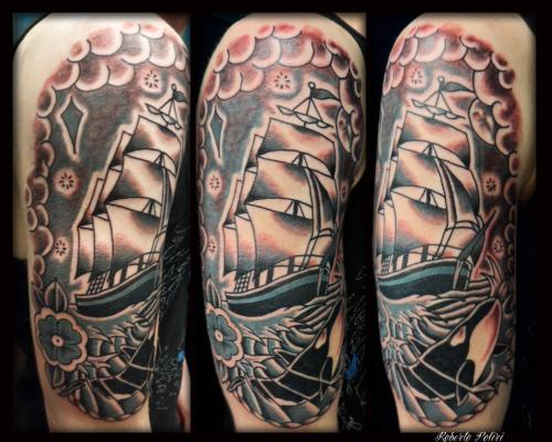Another fine sailing ship by Roberto Poliri with a cheeky wee orca in there! Done at Forevermore Glasgow