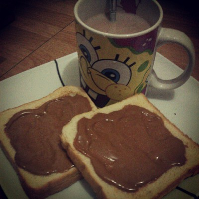 #midnightsnack #bread #peanutbutter #chocolate #drink #goodnight #foodporn
