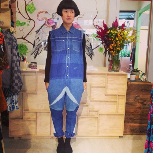 How cute!? Andrea Crews upcycled denim overall at Dagmar Rousset