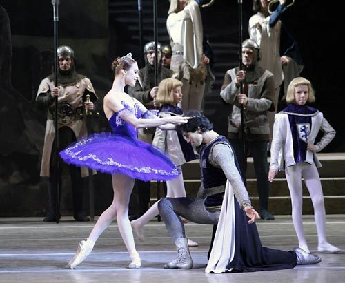 "Mariinsky Theatre's principal dancers Ulyana Lopatkina and Danila Korsuntsev in act II of Konstantin Sergeyev's revised version of ""Raymonda"". Photo by Natasha Razina."