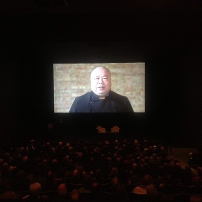 #whoisaiweiwei? Here's a still from @aiww's video message to a packed house at the opening @imamuseum last night.  (at Indianapolis Museum Of Art (IMA))