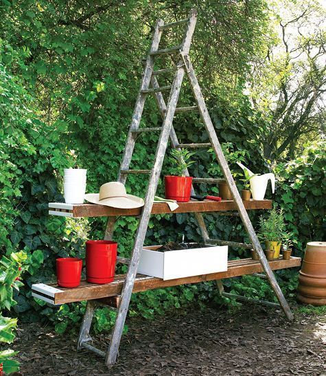 Combined: Vertical and Horizontal Potting Station Transform a vintage wooden ladder into an outdoor potting station, complete with work counters and shelf-rungs. The work counter is created from scrap shelving and screwed into the rungs. When potting up container gardens, soil falls through the slats into a dresser-drawer that catches the soil. photo: David Fenton