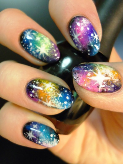 adifferentshade:  rAiNbOw GaLaXy nAiL aRt