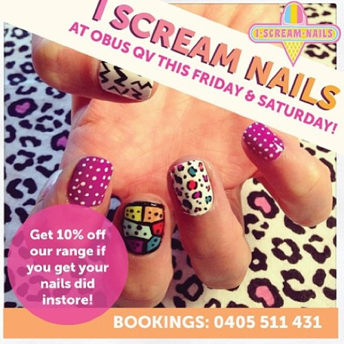 Hey there … We'll be at Obus QV this Fri & Sat! Come get your nails did & check out their newest store yay!!! 10% off store wide for those that get their nails did x #nailart #melbournenailart