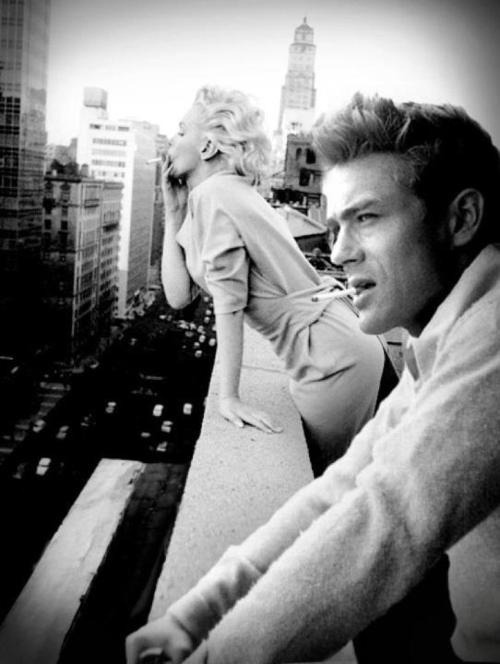thepaintedbench:  James Dean and Marilyn Monroe