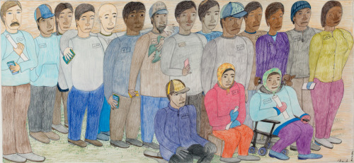"From Dorset Seen: Shuvinai Ashoona, Untitled (People lining up to sell artworks),2012. Graphite, coloured pencil, and felt pen on paper. Collection of Dorset Fine Arts.  Shuvinai Ashoona is part of a group of artists – including Ohotaq Mikkigak, Tim Pitsiulak and Jutai Toonoo – who regularly work in the Co-op's drawing studio. Others visit the studio on Tuesday or Thursday to sell their drawings to Bill Ritchie, the Co-op's studio manager. Of the many drawings acquired, only a few are made into prints each year. Most are shipped to Dorset Fine Arts, the Co-op's marketing division in Toronto, where they are acquired by commercial galleries from around the world. As Bill Ritchie commented, this drawing is a kind of organized ""photo shoot"" of the community's artists and printmakers: each is identified with a syllabic inscription. Standing, from left: Bill Ritchie, Tutuiya Jaw, Helena Ashevak, Niviaqsi Quvianaqtuliaq, Cary Merrit, Joemie Tapaunga, Nuyalia Quviaqtuliaq, Qavavau Manumie, Qiatsuk Niviaqsi, Timoon Pitsiulak, Cee Pootoogook, Susie Ashevak, Jutai Toonoo, Louisa Jaw  Seated, from left: Emataluk Sagiak, Qaqulu Sagsiatuk, Papiara Tukiki"
