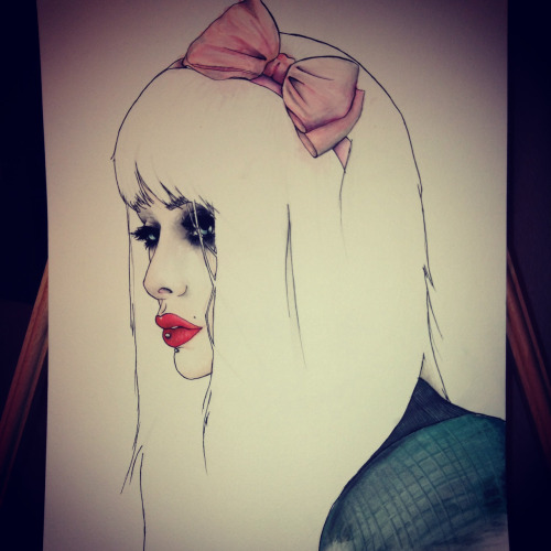 "cantcurestupid:  My first abstract watercolor portrait attempt. Original picture/model ""multicolors.tumblr.com""  Daym gurl! It's lovely :)"
