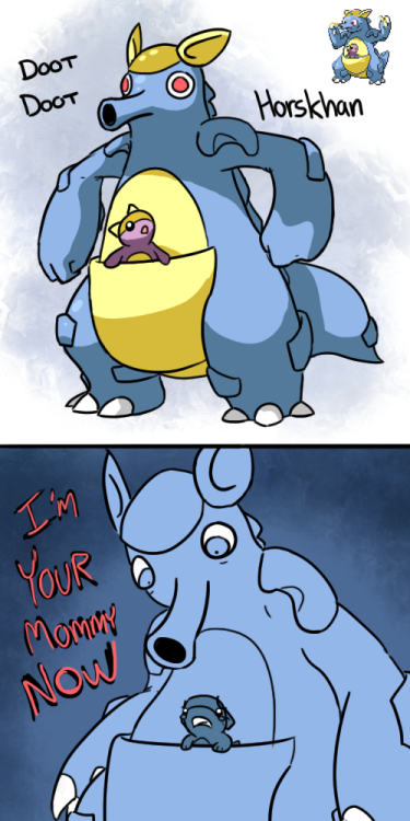 cosmicmarsupial:  I love how no matter what you splice with kangaskhan the baby stays roughly the same.