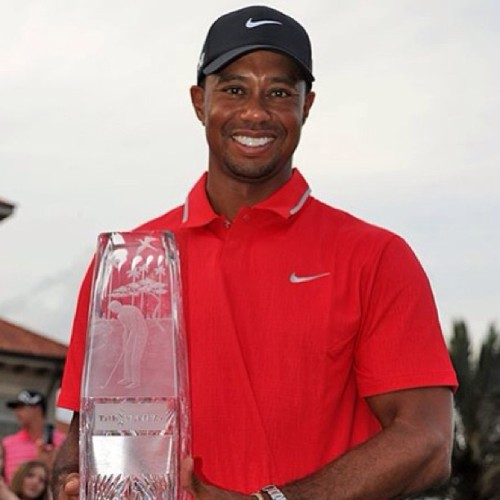 Tiger with the Players trophy. Lol get em Tiger. #players