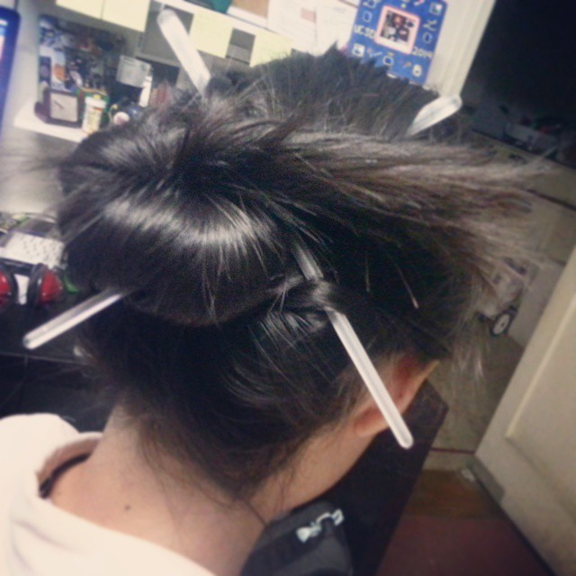 A desperate attempt to authenticate my hair with chopstick accessories. #authenticity #inauthentic #unknownHa
