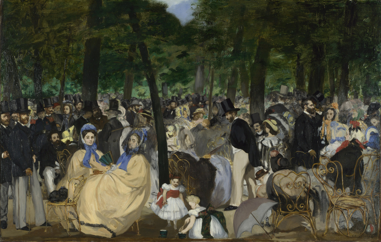 Edouard Manet, Music in the Tuileries Gardens, 1862 oil on canvas, 30 × 46 1/2 inches Download Image Visit Source @ mydailyartdisplay.wordpress.com