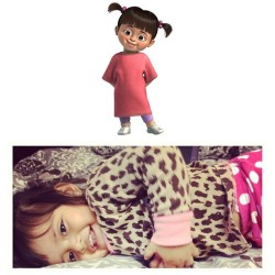 My Niece Looks like #Boo From #MonstersInc Crazy! She walks like her sounds like her! What door did she come threw Lol! #PeaceIg