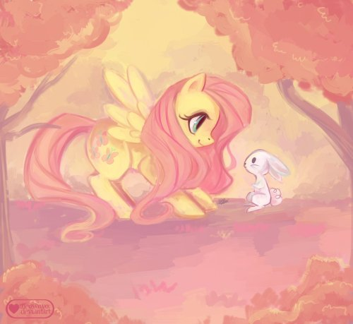 theponyartcollection:  Fluttershy and Angel by ~meownyo