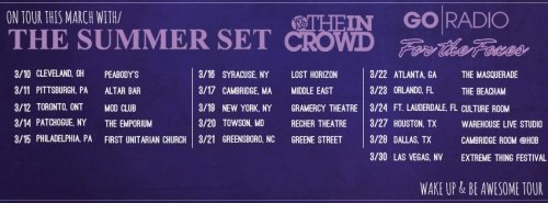 We leave for the Wake Up & Be Awesome Tour with The Summer Set, We Are The In Crowd and Go Radio in about a week. Very excited! Check out the dates!