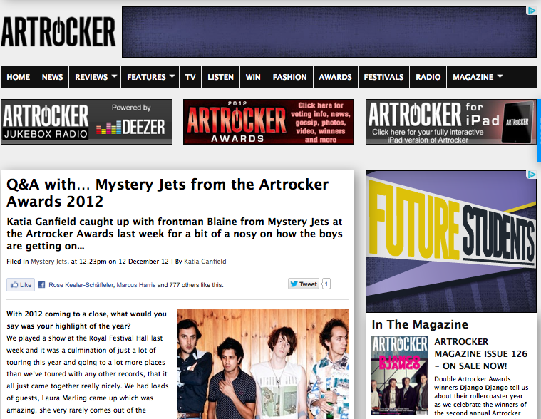 Q&A with Blaine from Mystery Jets at the Artrocker awards from a while backhttp://www.artrocker.tv/features/article/qa-with…-mystery-jets-from-the-artrocker-awards-2012