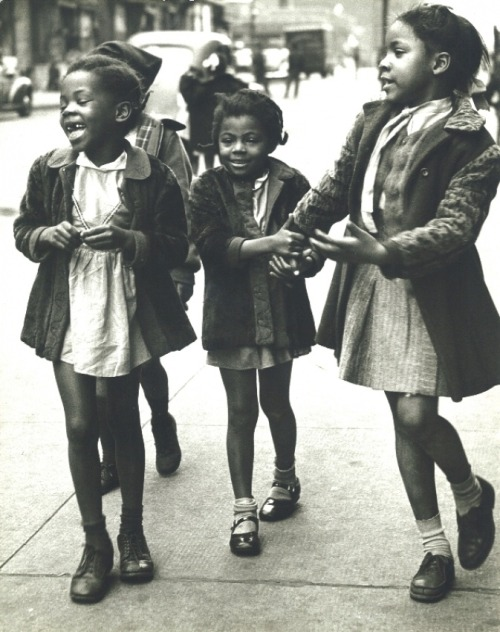 THANK HEAVEN FOR LITTLE GIRLS | 1947 African American girls walking the streets of Harlem, NYC, 1947. Photo by Morris Engel. via Black History Album, The Way We WereFollow us on TUMBLR  PINTEREST  FACEBOOK  TWITTER